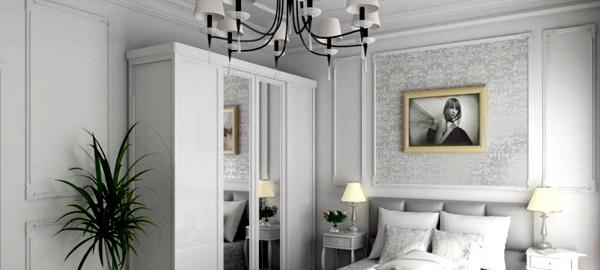 Sypialnia Sztukateria nowoczesna na ścianie
